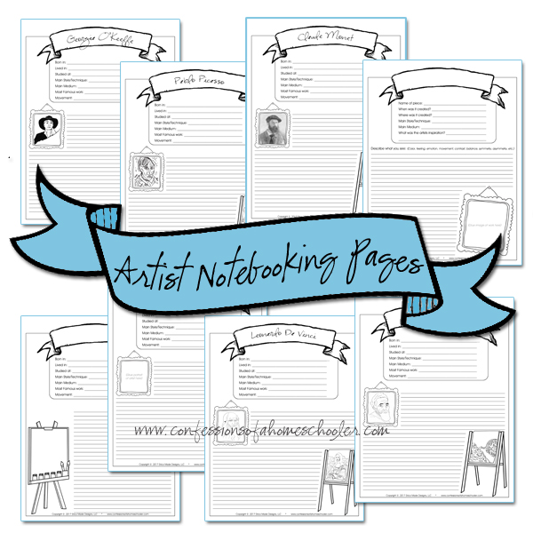 Artist Notebooking Pages Bundle PDF