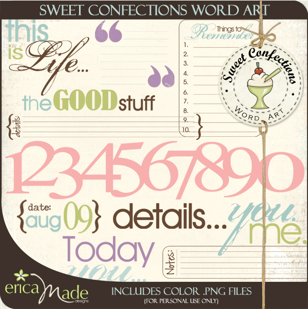 Sweet Confections Word Art